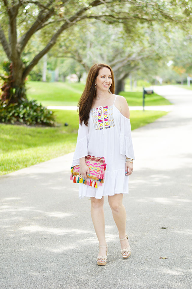 50460353b7b White Embroidered Dress + Neon Pops - Law of Fashion Blog