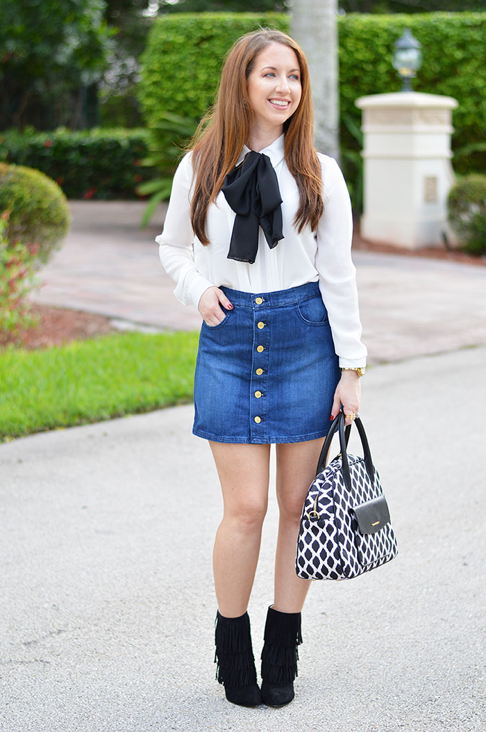 Button Front Denim Mini Skirt - Law of Fashion Blog