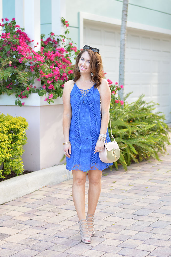 blue lace up dress