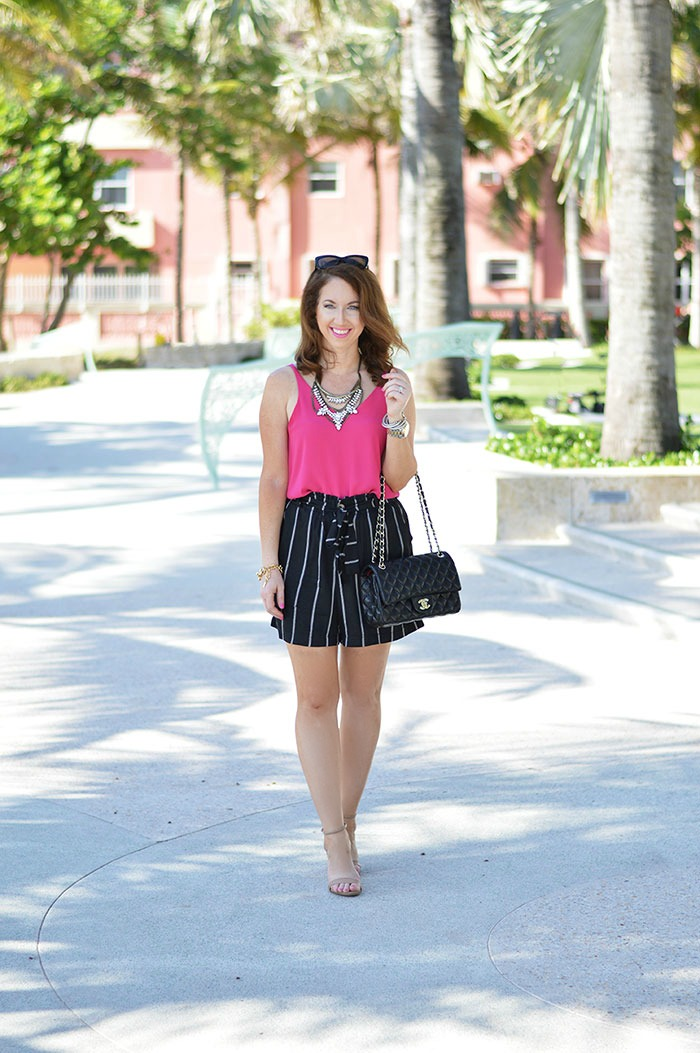 mimi chica high waisted stripe shorts