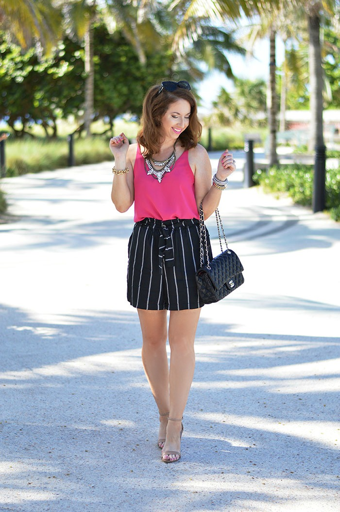 stripe high waisted shorts