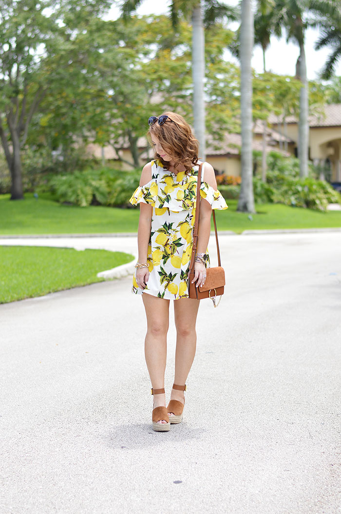 open shoulder lemon print dress