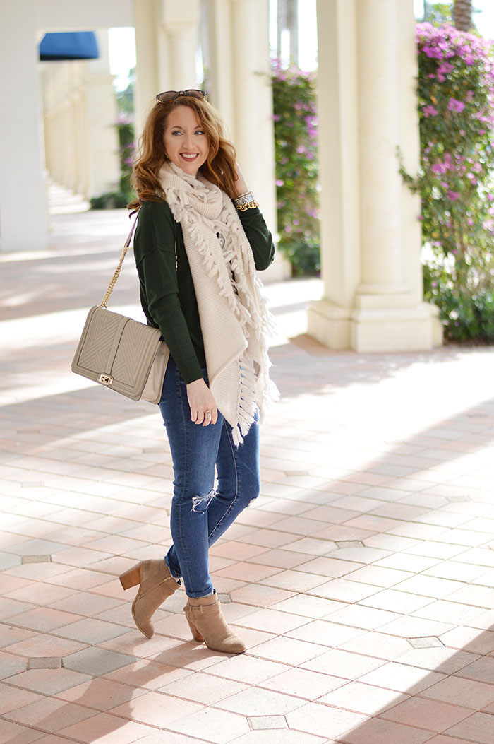 cute christmas day outfit with green sweater and white scarf - Christmas Style Archives - Law Of Fashion Blog