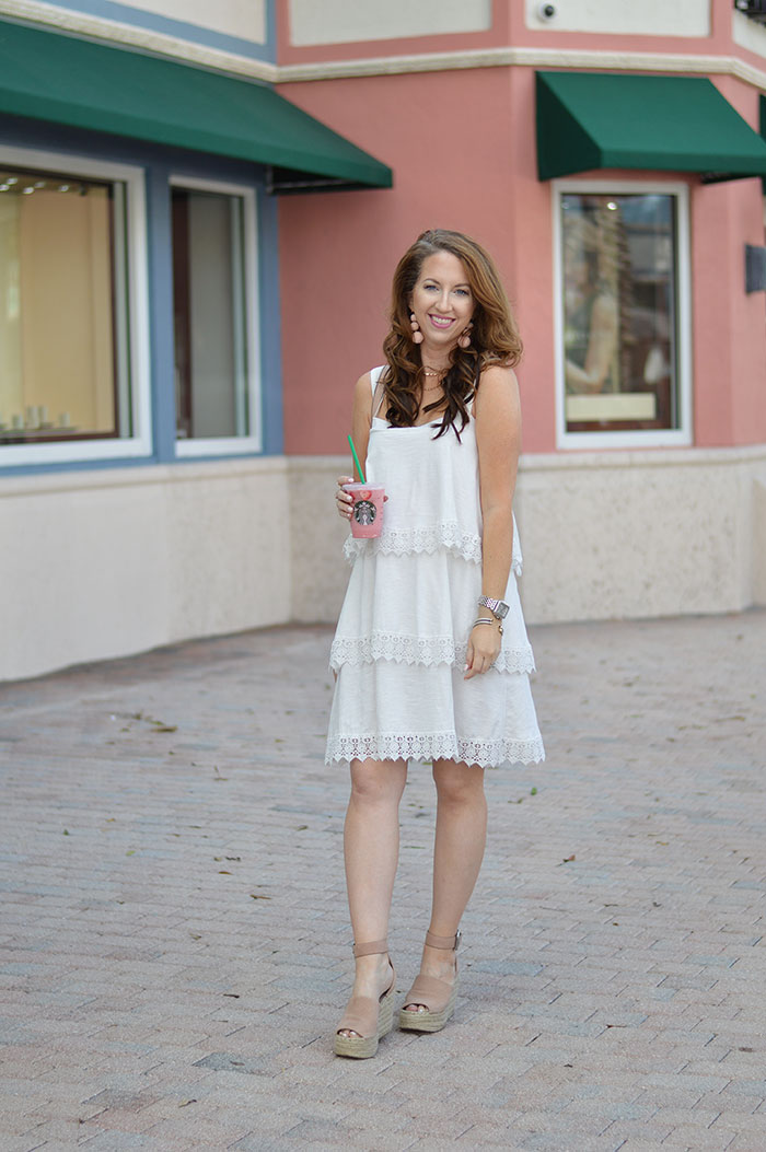 nina lacher from law of fashion blog wearing asos tiered lace detail sundress