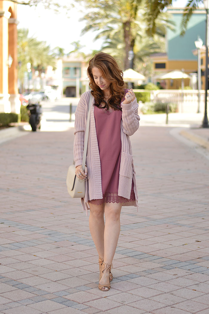 nina lacher from law of fashion blog wears leith lace trim shift dress burgundy rose