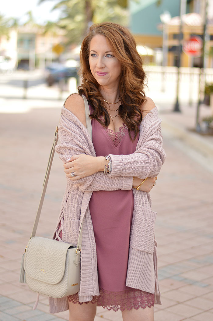 nina lacher from law of fashion blog wears leith lace trim shift dress in burgundy rose