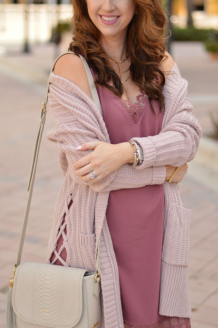 nina lacher from law of fashion blog wears red dress boutique so good so right blush cardigan