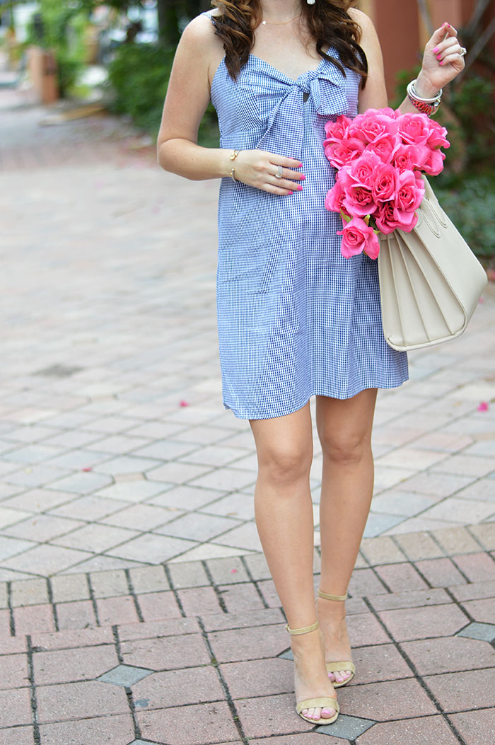 gingham bow front dress