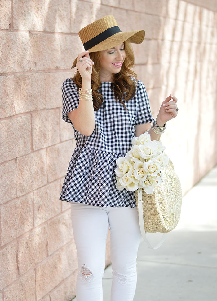 nina lacher from law of fashion blog wears straw boaters hat