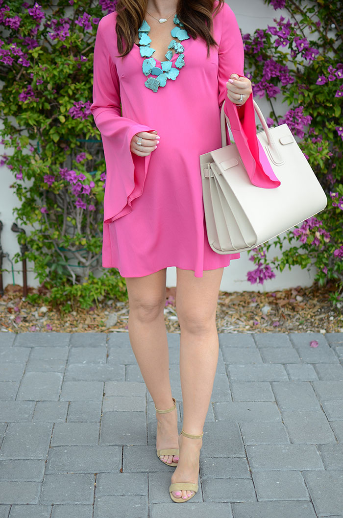 nina lacher from law of fashion blog wears topshop flute sleeve shift tunic dress