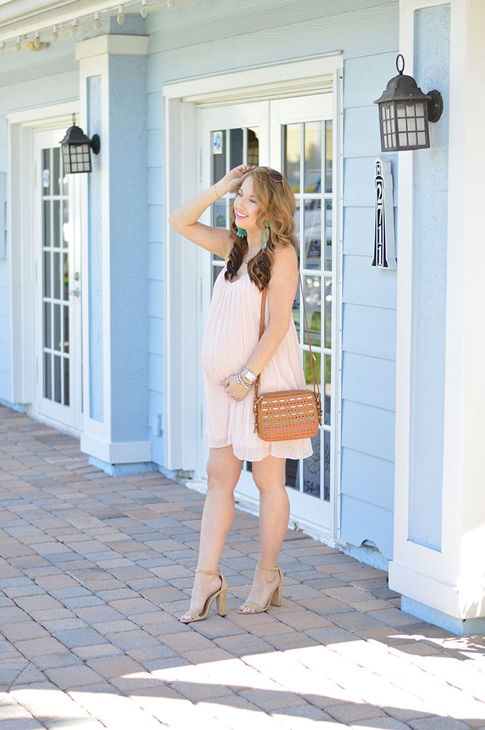 nina lacher from law of fashion blog wears abercrombie and fitch pink swing dress