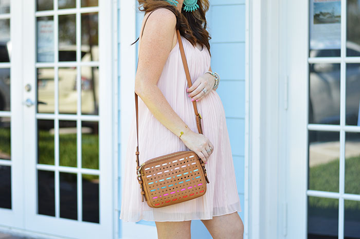 nina lacher from law of fashion blog wears fossil piper toasted bag multi color