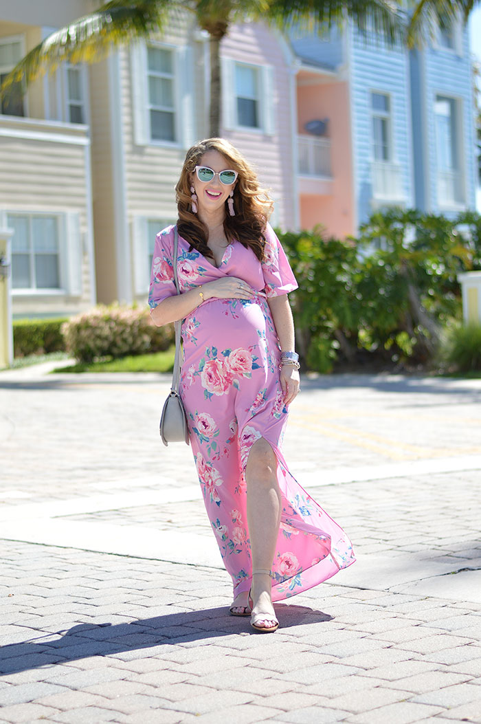 nina lacher from law of fashion blog wears morning lavender penelope pink floral print maxi dress