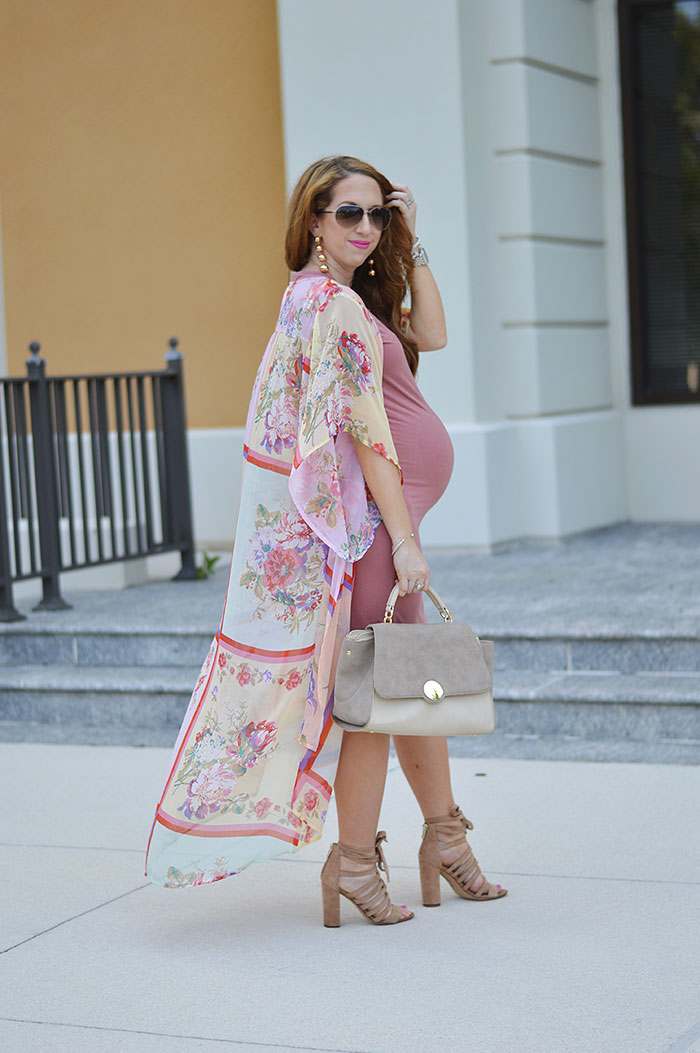 nina lacher from law of fashion blog wears band of gypsies floral chiffon kimono