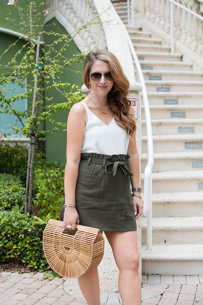 nina lacher from law of fashion blog wears june and hudson paper bag skirt