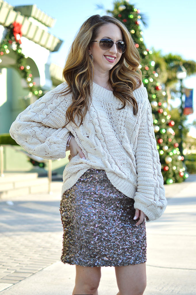 holiday look with sequins