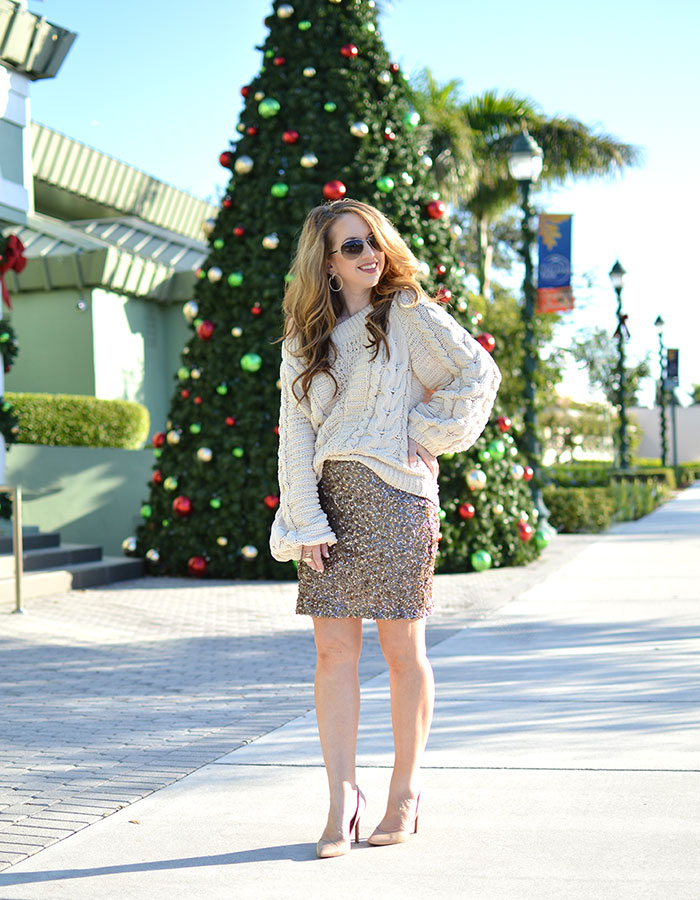 holiday look with mini skirt